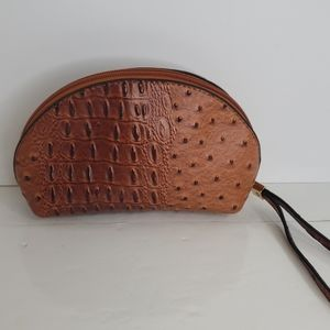 Faux leather textured cosmetic bag
